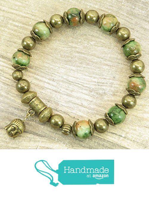 Thurcolas braccialetto d'epoca perline stile tibetano tinti naturali giada bianca verde, perline di metallo e pendenti al Buddha testa bronzo antico
