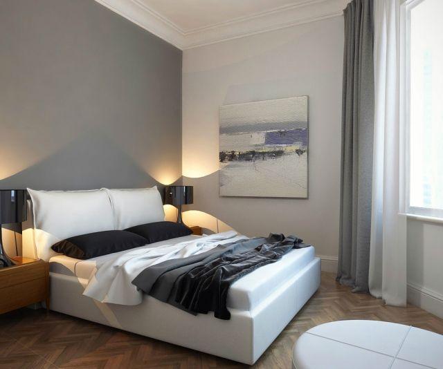 schlafzimmer dekorieren modern wandfarbe grau weißes polsterbett
