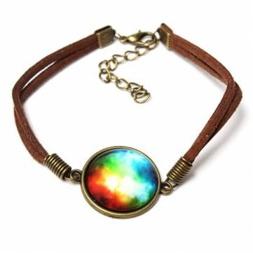 Galaxy Glass Cabochon Leather Rope Bracelet