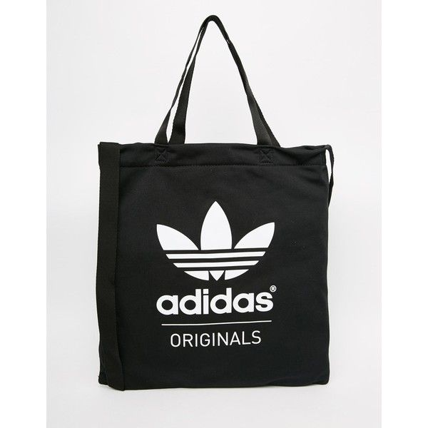 adidas Originals Shopper in Black ($21) ❤ liked on Polyvore featuring bags, handbags, tote bags, black, shopper tote handbags, black shopper tote, shoulder strap purses, adidas purse and black shopping bags