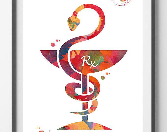 Pharmacist Watercolor Print Pharmacy Wall Art Pharmacist Rx Caduceus Nurse Gift