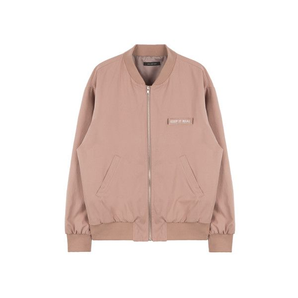 HIDE AND SEEKKEEP IT REAL Bomber Jacket   MIXXMIX ($63) ❤ liked on Polyvore featuring outerwear, jackets, tops, coats, knit jacket, brown sport jacket, sports jacket, long sleeve jacket and blouson jacket