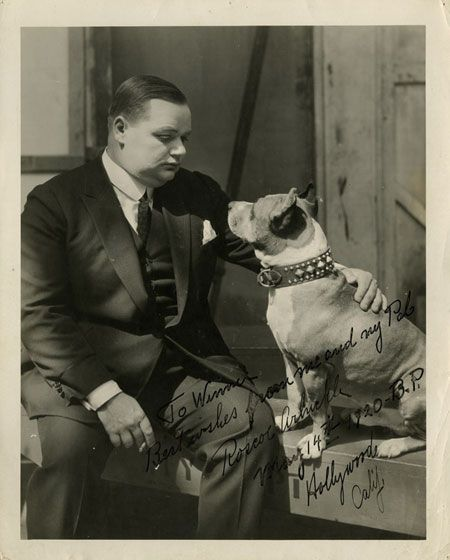 Roscoe Arbuckle and Luke the (Pit Bull) wonder dog. Somewhere on this board is a photo of, if I remember correctly, Buster Keaton and Luke.