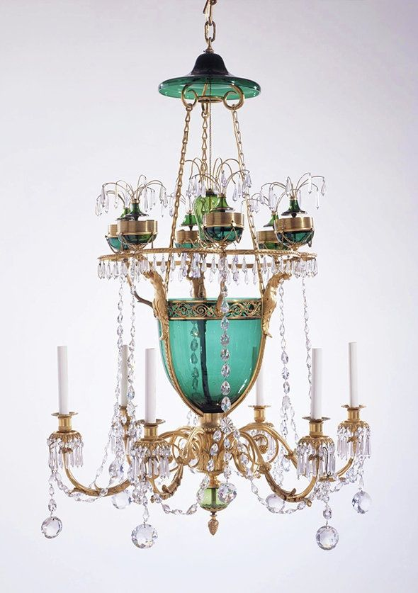Marjorie Merriweather Post was known for her large decorative arts collection that focuses heavily on the House of Romanov she and husband bought from Stalin's government in 1930s. This chandelier of the 18th century was taken from the Catherine's Palace in Tsarskoye Selo. Marjorie has put this chandelier in her luncheon hall of her estate that became Hillwood Museum