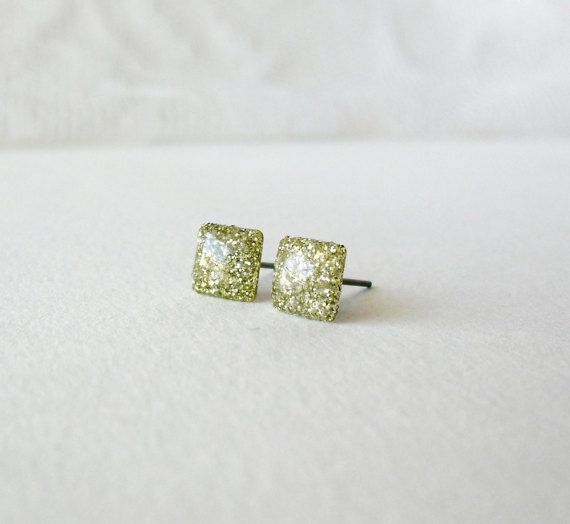 Gold Glitter square posts Delicate shiny stud by DivineDecadance