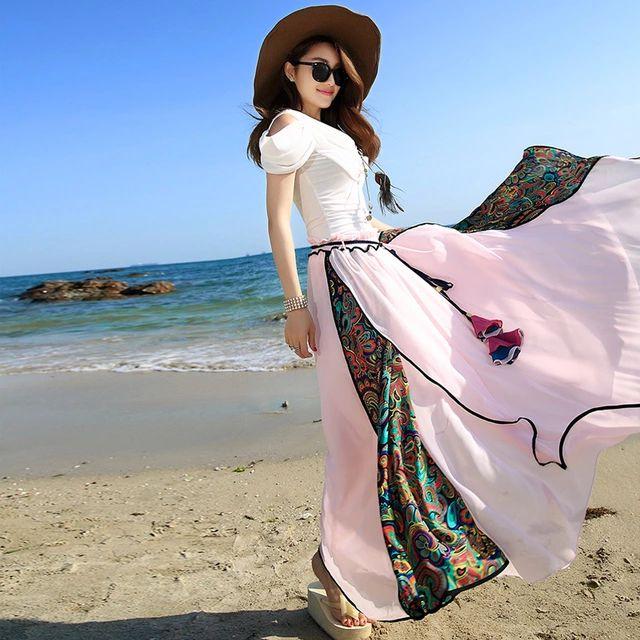 Новая весна летние каникулы плиссированные feminino юбка 2015 чешский розовый синий пляж высокая талия длинные юбки макси