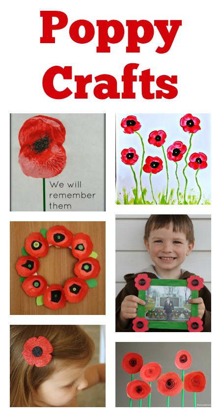 remembrance day crafts :: poppy crafts for kids                                                                                                                                                                                 More