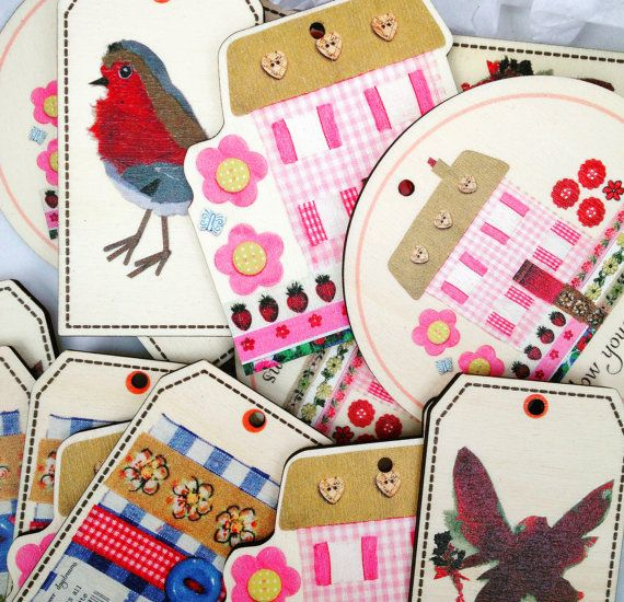 Set of Five Luxury Wooden Gift Tags  Robin by MollyMargaretDesigns