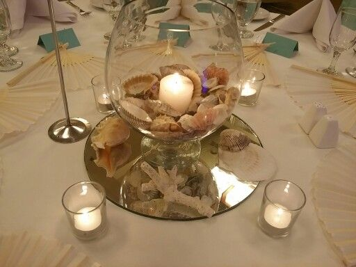 Centrepiece shells in a fish bowl