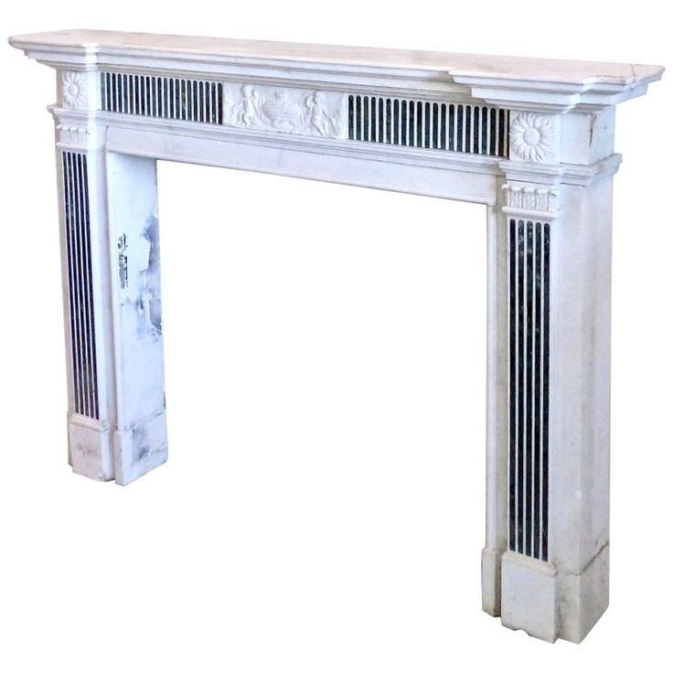 1stdibs Fireplace / Mantel – 19Th Century Style Inlayed Verde Antico Marble Surround French Neoclassical Carrara Marble