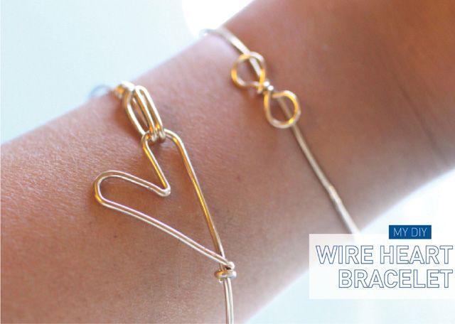 [MY DIY] HEART BRACELET: Heart Crafts, Wire Jewelry, Wire Heart, Heart Rings, Diy Jewelry, Diy Bracelets, Heart Bracelets, Xmas Gifts, Wire Bracelets