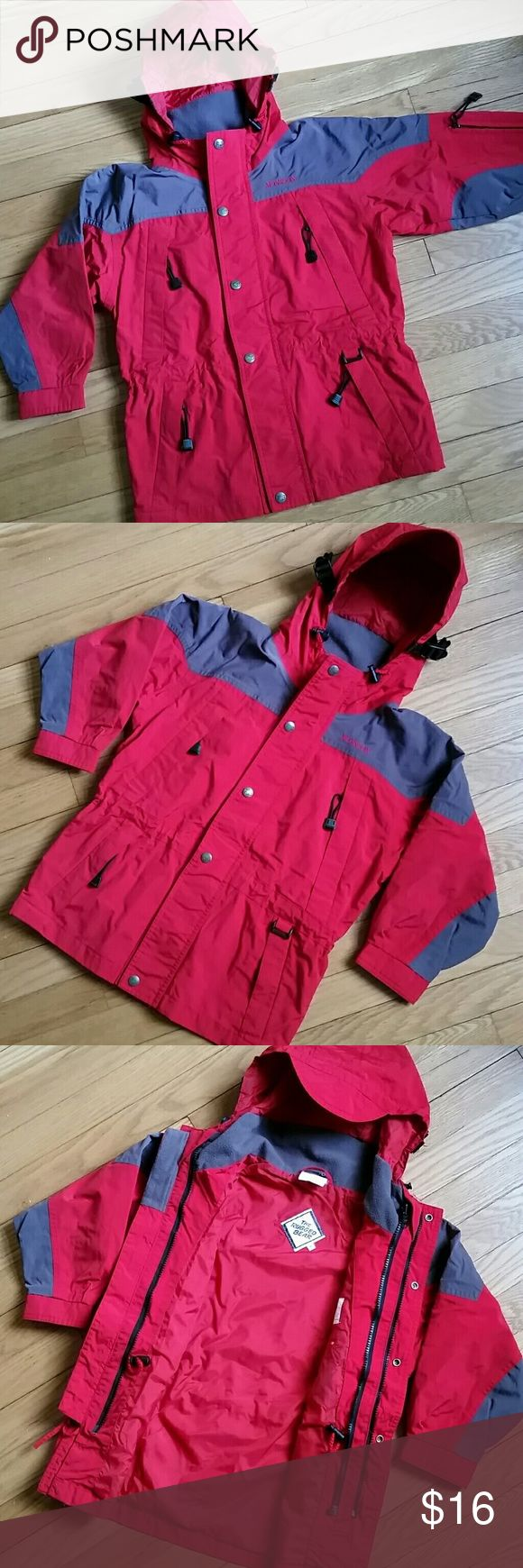 Size 6 Rugged Bear jacket Size 6 kids jacket. Made by Rugged Bear. Great quality! * In very good condition. No holes or marks. All zippers and velcro closures in good working order.  * Red with dark gray accents. * 100% nylon. Fully lined. Velcro at wrist. 4 pockets in front, and 1 on right sleeve. Hood has a brim on it to keep your child's face dry. * 17 in wide, armpit to armpit, when closed. Approx 22 inches long, from top to bottom of jacket.  ** Price is firm unless bundled. See my…