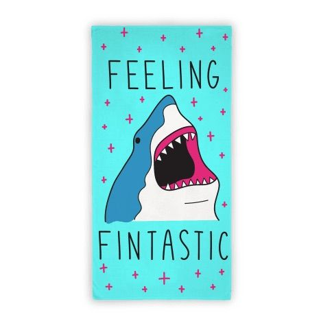 """Show off your confidence in sassy shark fashion with this shark design featuring the text """"Feeling Fintastic"""" for the shark lover with a sassy attitude! Perfect for summertime, a beach bum, vacation, shark gifts, shark jokes, shark puns, and letting everyone know how great you feel!"""