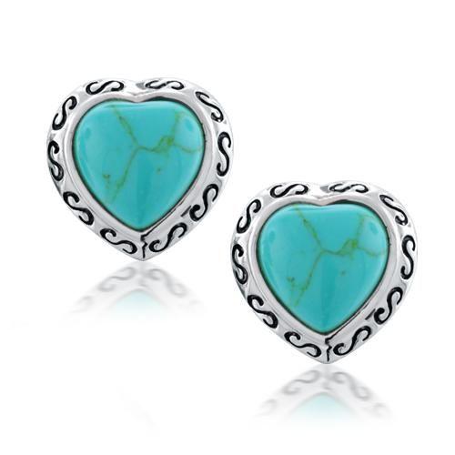 .925 Sterling Silver Heart Shaped Turquoise Stud Earrings