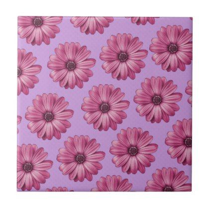 Purple and Pink Tropical Floral Print Ceramic Tile