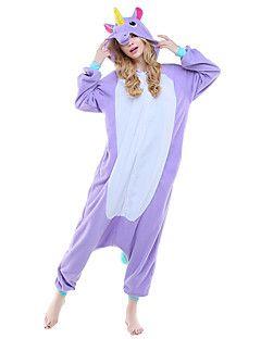 Kigurumi Pijamas Unicórnio Collant/Pijama Macacão Festival/Celebração Pijamas Animal Roxo Rosa Azul Céu Animal Lã Polar Kigurumi Para