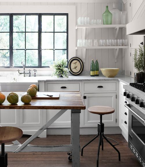 A late-1800s Belgian butcher's table is now a kitchen island in this Georgia home.   #decorating #kitchensDecor, Kitchens Design, Open Shelves, Kitchens Ideas, Kitchens Islands, Black Windows, Open Shelving, Stools, White Kitchens