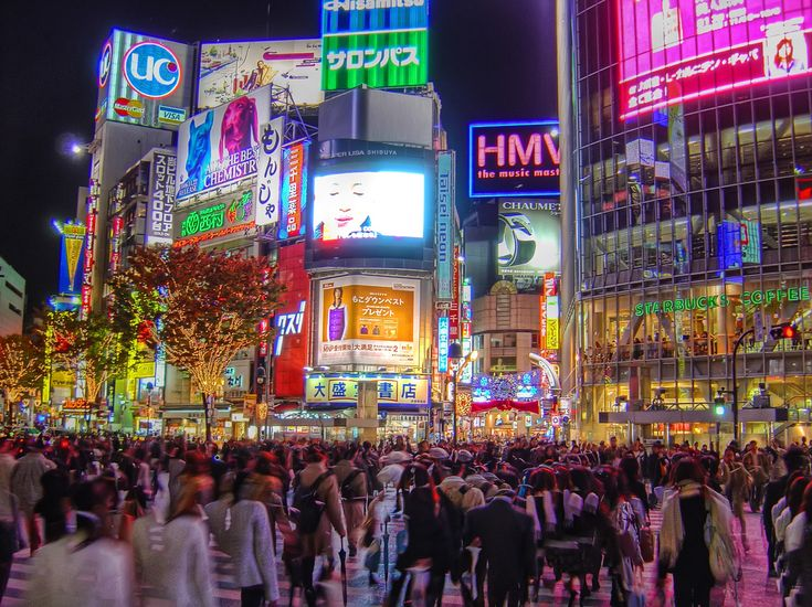 Tokyo Japan - Thousands people walking. A modern city.