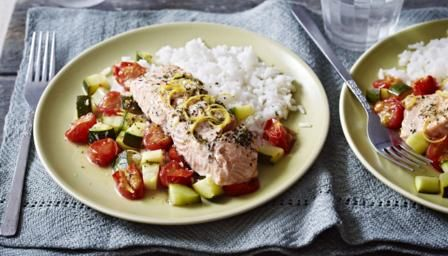 This is a really lovely way to cook fish and it adds so much flavour, a nice simple recipe to impress your mates.   You can swap the vegetables and flavourings to suit what you have in the fridge. See the tips section below for suggestions.   Each serving provides 530kcal, 35g protein, 43g carbohydrate (of which 3g sugars), 23g fat (of which 4.5g saturates), 2g fibre and 0.3g salt.