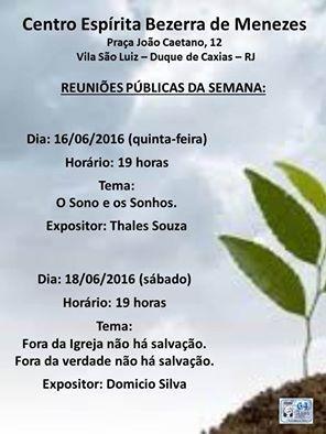 CEBM – Centro Espírita Bezerra de Menezes Convida para a sua Palestra Pública - Duque de Caxias - RJ - http://www.agendaespiritabrasil.com.br/2016/06/16/cebm-centro-espirita-bezerra-de-menezes-convida-para-sua-palestra-publica-duque-de-caxias-rj-2/