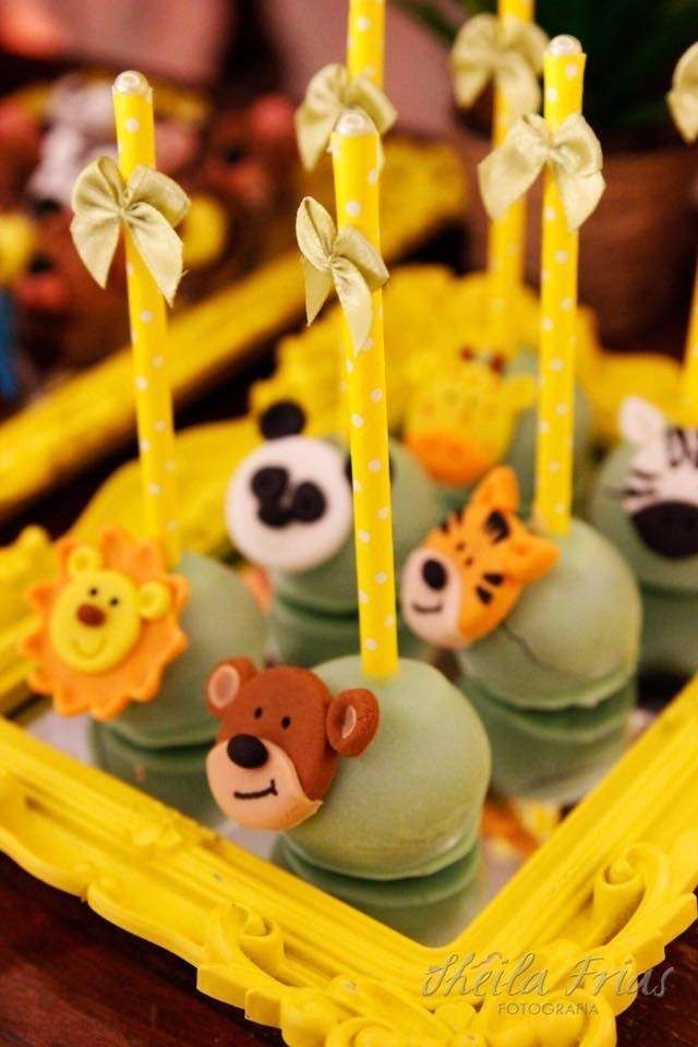 Fun cake pops at a jungle themed birthday party! See more party ideas at CatchMyParty.com!