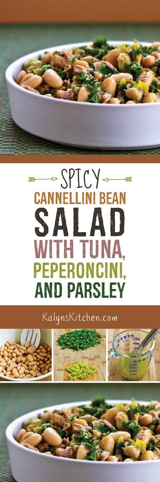 I used peperoncini to add extra flavor to this Spicy Cannellini Bean Salad with Tuna, Peperoncini, and Parsley, and this salad is perfect for lunch at home or to take to work! [found on KalynsKitchen.com]