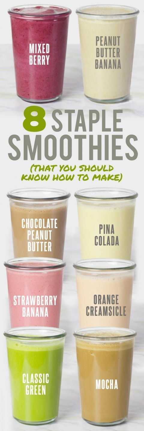 8 Staple Smoothie Recipes That You Should Know How to Make. Perfect for making healthy smoothies for breakfast. Great way to start your day!