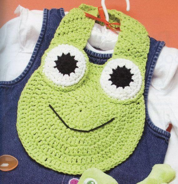 Baby Frog Baby Bib Crochet Pattern by TheTrendyYarnStudio on Etsy, $4.00