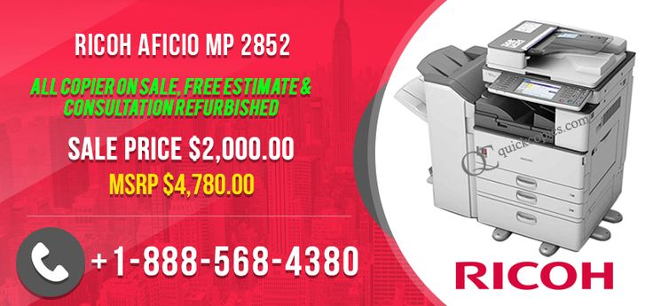 Ricoh Aficio MP 2852 Mono Multifunctional B/W Copy/Print/Scan/Fax-$2,000  Ricoh Aficio MP 2852  Critical Features:  1) Optional Copy, print, scan and fax features. 2) Full colour scanning 3) Conventional automated duplexing. 4) Give out full-colour papers via Scan-to-Email or to multilevel files via Scan-to-Folder    For Reading more details on the Ricoh Aficio 2852 please do not be reluctant to call up our very helpful product sales staff on (888)-568-4380