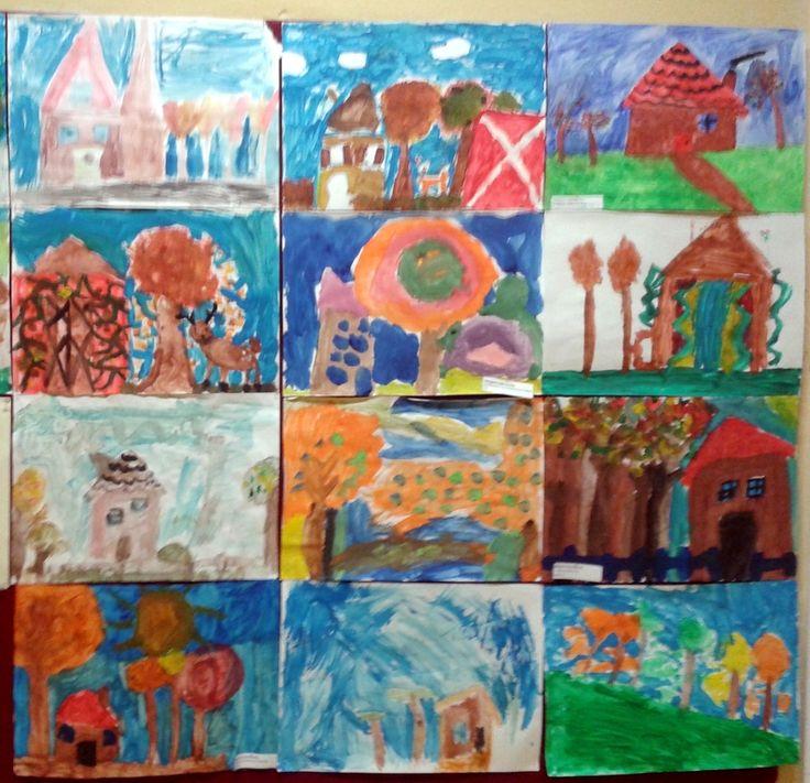 Prace malarskie klasy 1a przygotowane na konkurs szkolny Jesienny pejzaż wsi.