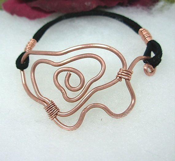Copper wire art bracelet.