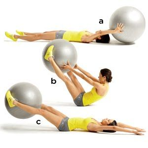 Stability Ball V-Pass... This is a good exercise! You can feel the burn in your abs, your thighs, and arms.