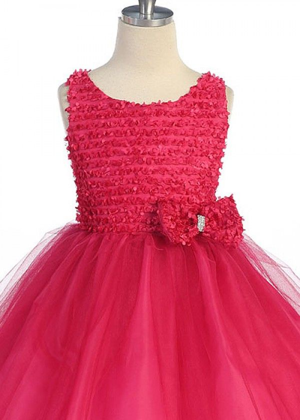 Fushia Stylish Tulle Flower Girl Dress