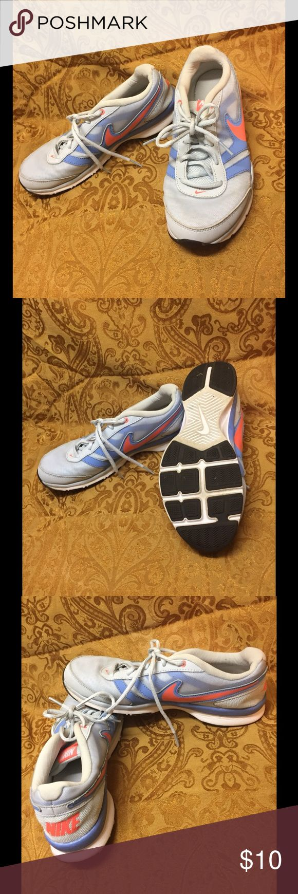Sz 10 Nike Sneakers Size 10 Light Blue, White & Splash of Neon Orange Nike Sneakers. These are used but still in good condition. They do show some wear, but still have some tread and plenty of life in them. Non-smoking home with no pets. Bundle2Save Nike Shoes Sneakers