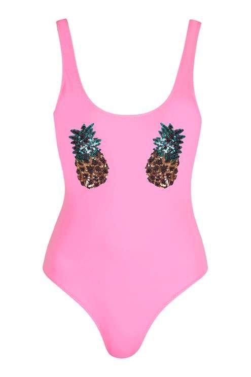 TOPSHOP - Sequin Pineapple Swimsuit