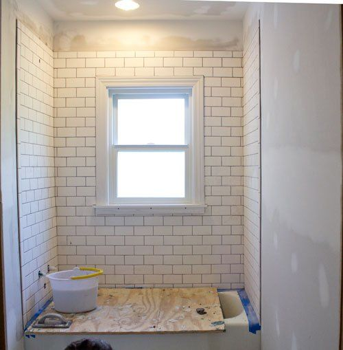 Picture Frame Tile Trim Around A Shower Window Taking