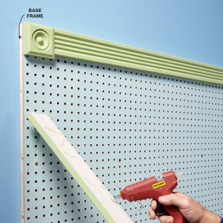 Dress It Up - Most pegboard comes in two colors�boring white and boring brown. But it doesn't have to stay that way. Roll on a coat of primer followed by gloss or semigloss paint (glossy paints are easier to wipe clean). Apply light coats so you don't clog the holes. Then snazz it up with a frame. After we attached our pegboard to a 1x3 frame, we added corner blocks and trim with hot-melt glue�no fancy miter cuts or fasteners needed.