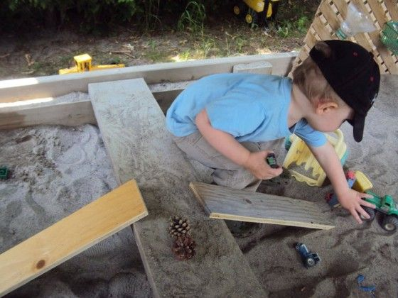 This post includes lots of ideas for sand pit play and for storing play materials.