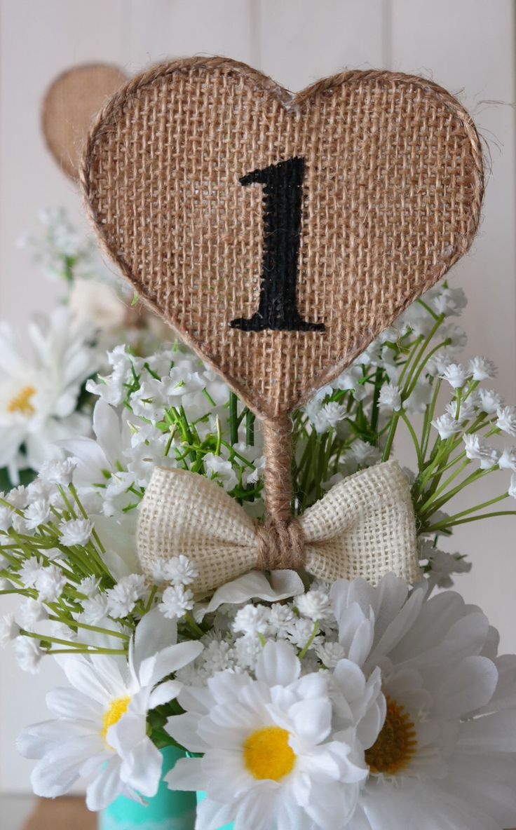 Burlap Heart Table Numbers, Rustic Wedding Table Numbers, Shabby Chic Table Numbers, Reception Table Decor by sabihup on Etsy https://www.etsy.com/listing/261289368/burlap-heart-table-numbers-rustic
