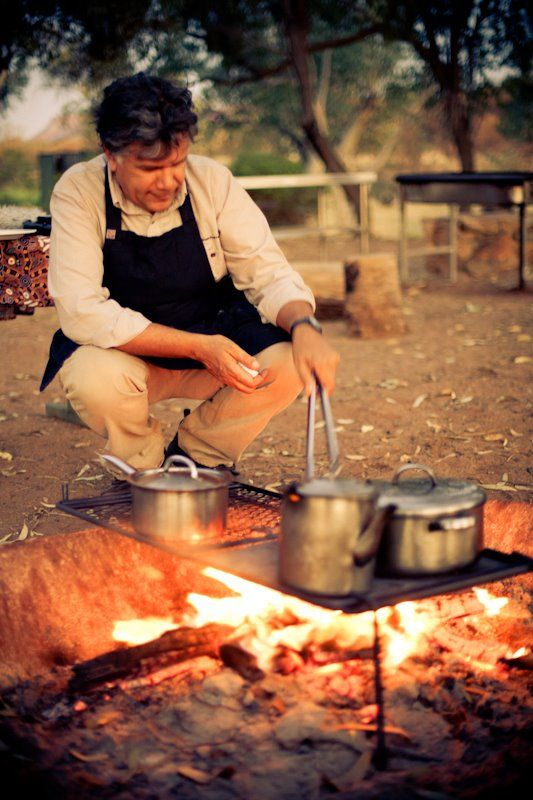 Your own private chef Bob Taylor of RT Tours in Alice Springs prepares your dinner by campfire - Fresh local bush tucker with a contemporary twist! Northern Territory Australia. Via Matador Network