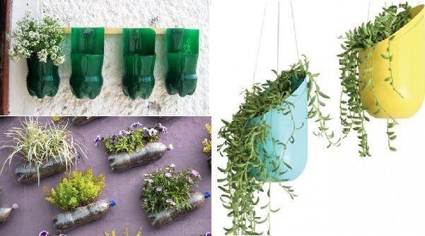maceteros reciclados con botellas de plástico