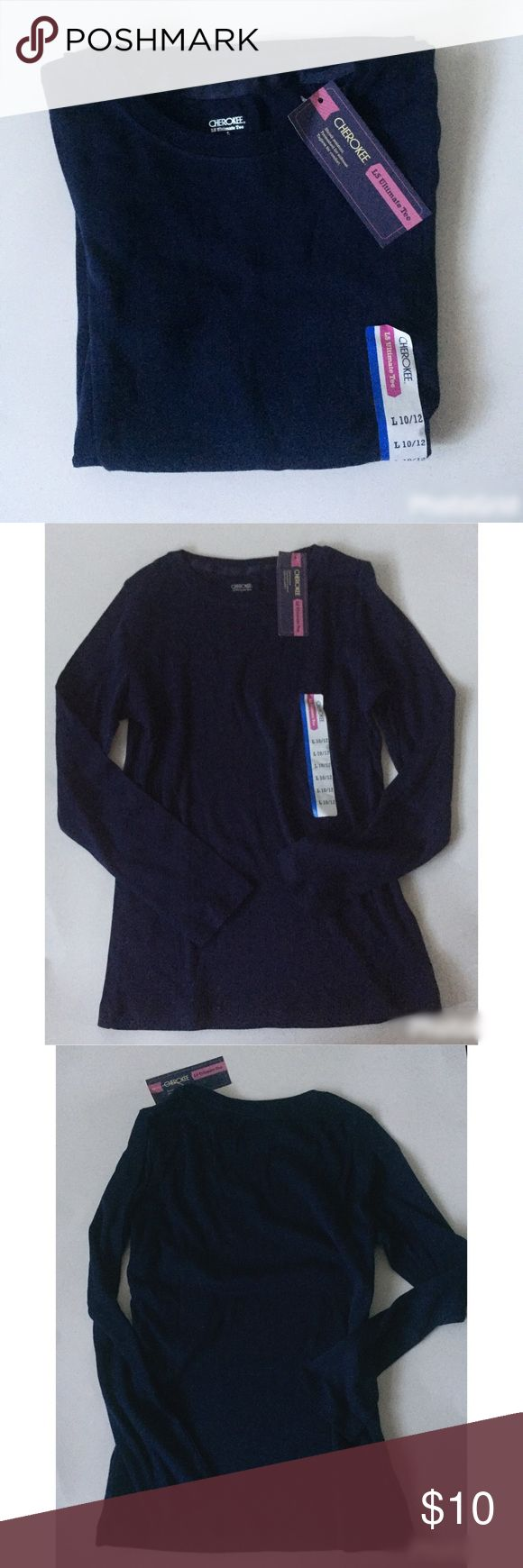 """NWT. Long sleeve navy tee NWT. Long sleeve navy tee. Size: L or 10/12 in girls. About 22"""" long with a sleeve length of 20.5"""". Sorry, no trades. Like the item but not the price, feel free to make me a reasonable offer using the offer button. Cherokee Shirts & Tops Tees - Long Sleeve"""
