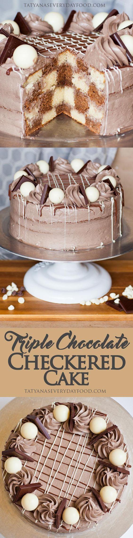 Triple Chocolate Checkered Cake - Tatyanas Everyday Food