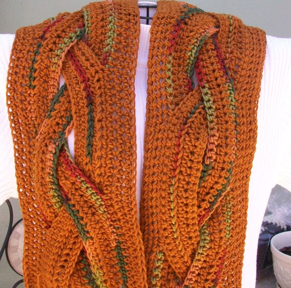Gold and Autumn Colored Braided Scarf with Fringe by couva12, $35.00