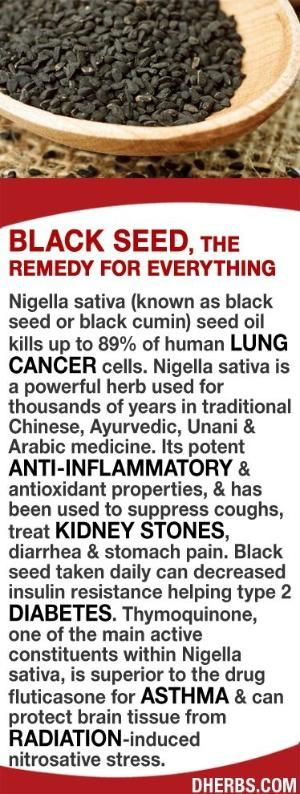 Nigella sativa (black seed) seed oil kills up to 89% of lung cancer cells. It is a powerful herb used for 1,000's of years in traditional Chinese, Ayurvedic, Unani & Arabic medicine. Its potent anti-inflammatory & antioxidant properties. Black seed taken daily can decrease insulin resistance helping type 2 diabetes. Thymoquinone, found in the seed, is superior for asthma issues & can protect brain tissue from radiation-induced nitrosative stress. by brandi