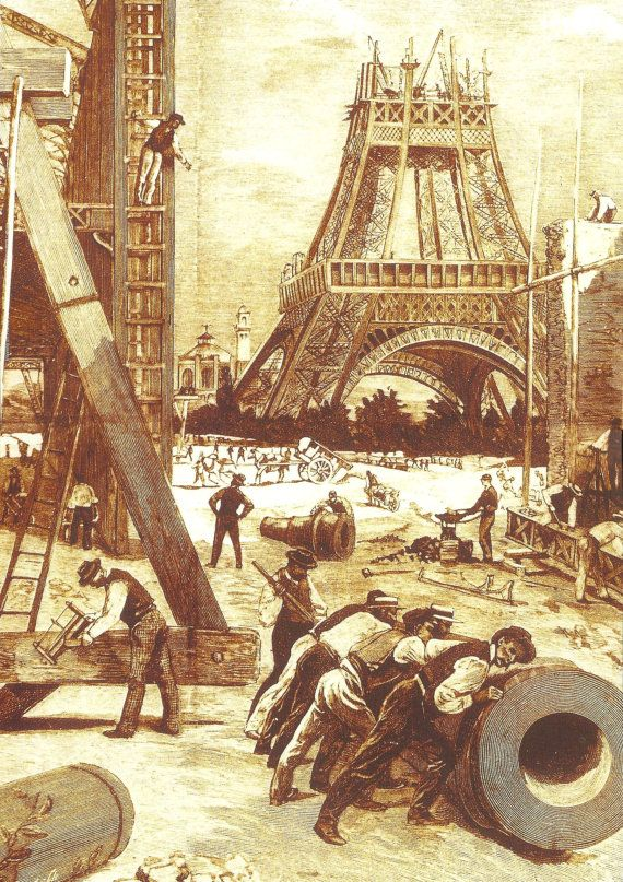 The Eiffel Tower, built to serve as the grand entrance to the 1889 World's Fair held in Paris  Vintage Eiffel Tower construction French poster print. $11.00, via Etsy.