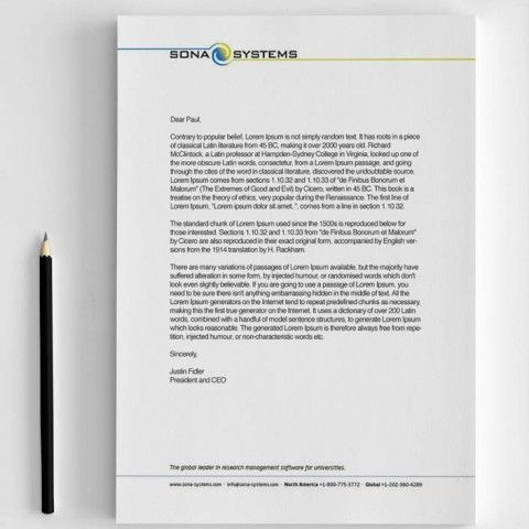 Sona Systems - Stationery - Letterhead