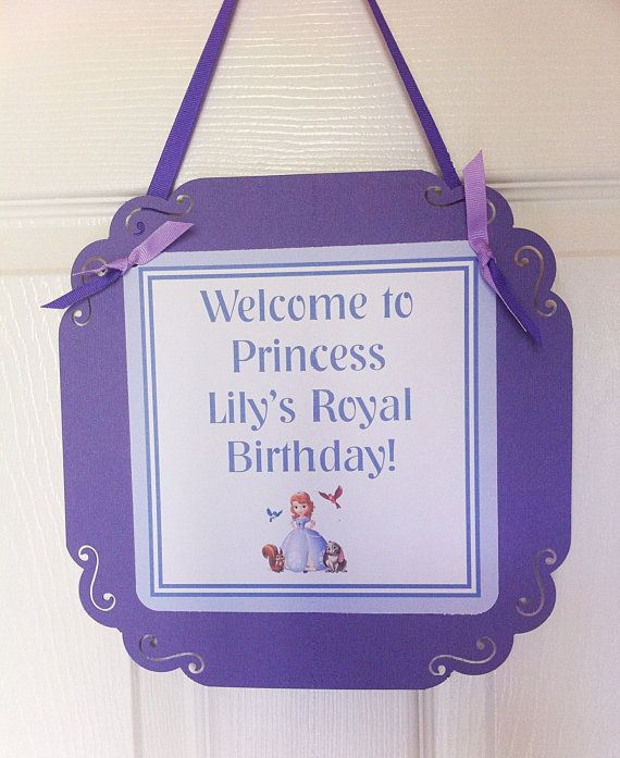 Sofia the first Door sign by BerrySweetParties on Etsy, $10.00