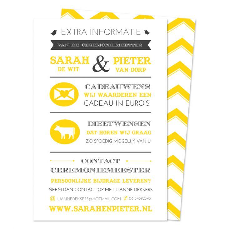 NIEN // Extra informatie vermelden op je trouwkaart? Plaats het apart op een extra kaartje.