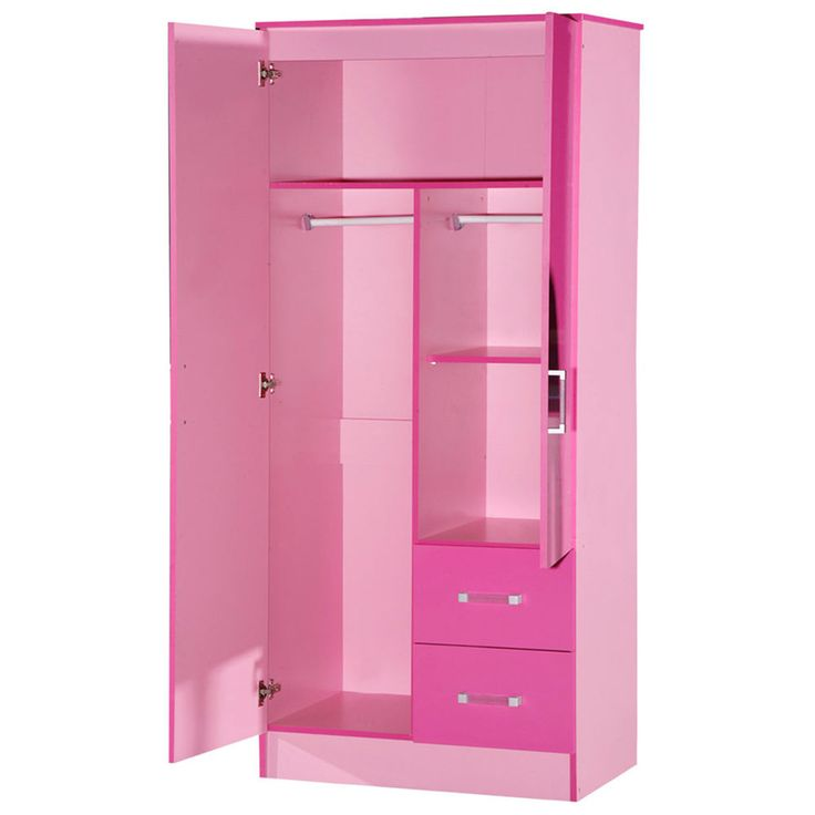 Large Pink Gloss Wardrobe Girls Double Wardrobes Twin Drawer Drawers Childrens in Home, Furniture & DIY, Children's Home & Furniture, Furniture | eBay